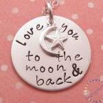 Hand stamped necklace love you to t..