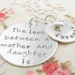 Hand Stamped Necklace, Mother & Dau..
