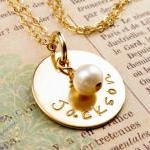 14K gold filled disc with pearl cha..