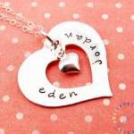 Silver heart necklace: HAND STAMPED..