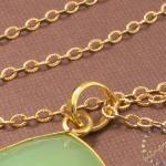 Lime Green Onyx Pendant: 14k gold f..