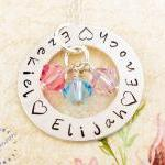 Hand stamped necklace FOUR NAMES Fa..