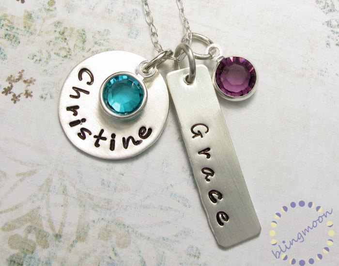 Personalized jewelry charm necklaces for moms personalized necklace personalized jewelry charm necklaces for moms personalized necklace hand stamped charms silver pendant silver necklace aloadofball Images