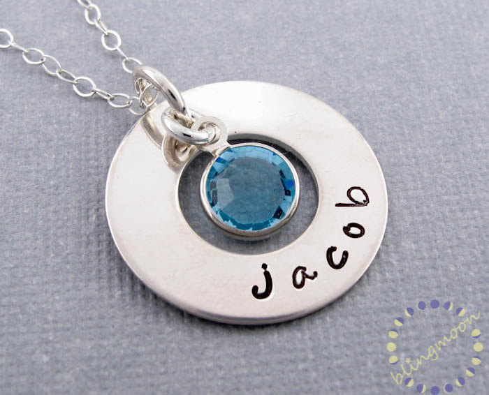 Personalized name necklace: Sterling Silver HAND STAMPED washer necklace