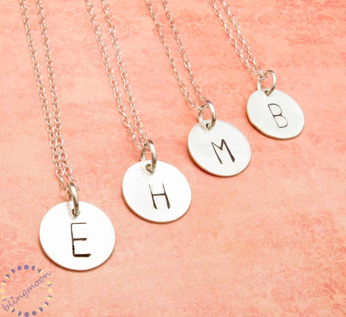 44038e016dfec Initial Necklace . Personalized Necklace Charm Necklace . Silver Initial  Charm . Custom Necklace . Engraved Necklace