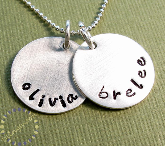 custom hand stamped necklace personalized jewelry sterling