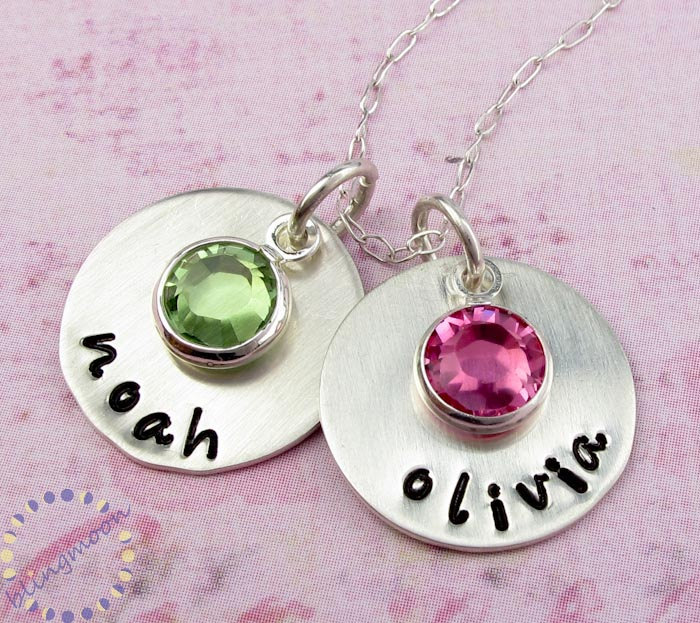 Personalized Jewelry Mommy Necklace Hand Stamped Sterling Silver Birthstone