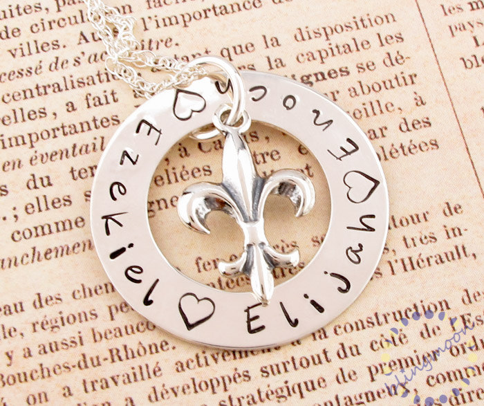 Personalized washer necklace: HAND STAMPED fleur de lis charm