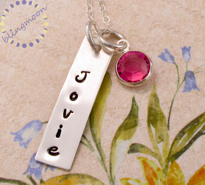 Hand Stamped Jewelry: Personalized Mothers Jewelry with a birthstone - rectangle name dog tag