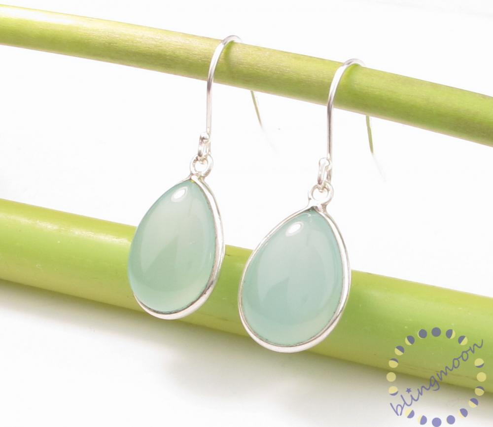 Blue chalcedony earrings: pastel blue smooth bezel sterling silver earrings