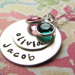 Mommy Necklace - Personalized Jewellery - Silver Charm Necklace - Birthstone Jewelry - Personalized Necklace - Engraved Necklace Custom