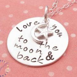 Hand stamped necklace love you to the moon and back personalized necklace moon charm