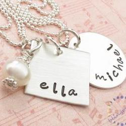 Sterling silver jewelry: personalized necklace custom engraved names silver jewelry square charm
