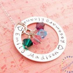 Hand stamped washer necklace: engraved sterling silver personalized jewelry