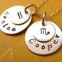Zodiac sign jewelry: sterling silver hand stamped name necklace with zodiac sign charm