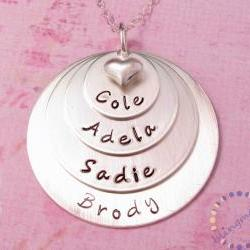 Family name necklace: Engraved silver pendant with children names