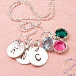 Custom Engraved Necklace Initial Charm Necklace Handstamped Personalized Pendant