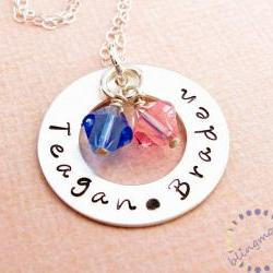Hand stamped necklace: Sterling silver washer with birthstone crystals