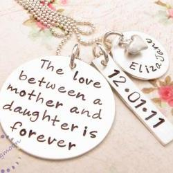 Mommy Necklace, Hand Stamped Necklace, Mother Daughter Jewelry, Mom Necklace, Mother Daughter Necklace