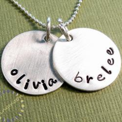 Custom hand stamped necklace - personalized jewelry - Sterling silver charms - mommy necklace