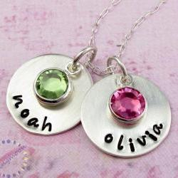 Personalized jewelry mommy necklace hand stamped sterling silver birthstone jewelry