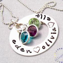 Hand stamped jewelry: round washer necklace birthstone crystals