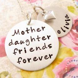 Mother daughter necklace: friends forever HAND STAMPED silver pendant