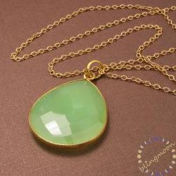 Lime Green Onyx Pendant: 14k gold filled long gold necklace with large bezel gemstone