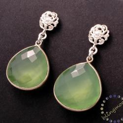 Chalcedony earrings: Silver light green faceted heart drop earrings