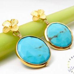 Turquoise earrings: Bezel set vermeil faceted blue gemstone flower post earrings