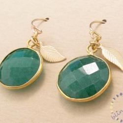 Emerald earrings: gold bezel set faceted green gemstone drops in 14k