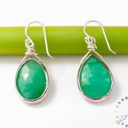 Green Chrysoprase earrings: Bezel set sterling silver green gemstone earrings