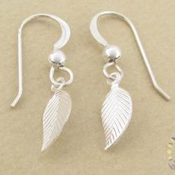 Silver leaf earrings: tiny sterling silver leaf dangle drops