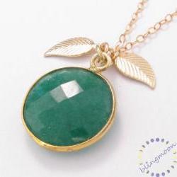 Gold necklace: green gemstone emerald necklace bezel set with leaf charm