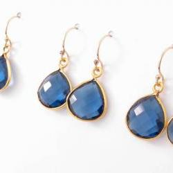 London blue topaz earrings 14k gold filled gemstone tear drop bridesmaid gift