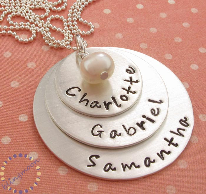 Hand stamped jewelry hand stamped personalized sterling silver hand stamped jewelry hand stamped personalized sterling silver necklace for mom three pendants three name necklace mozeypictures Gallery